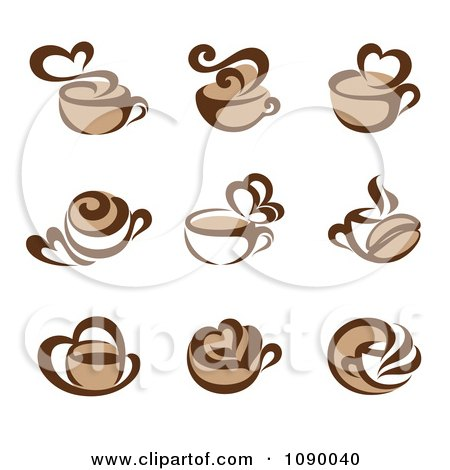 Clipart Coffee Cup And Heart Steam Icons - Royalty Free Vector Illustration by elena
