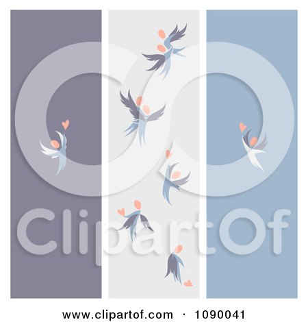 Clipart Purple Gray And Blue Love Angel Banners - Royalty Free Vector Illustration by elena