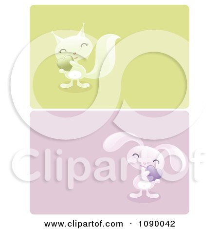 Clipart Green And Blue Squirrel And Rabbit Valentine Borders - Royalty Free Vector Illustration by elena
