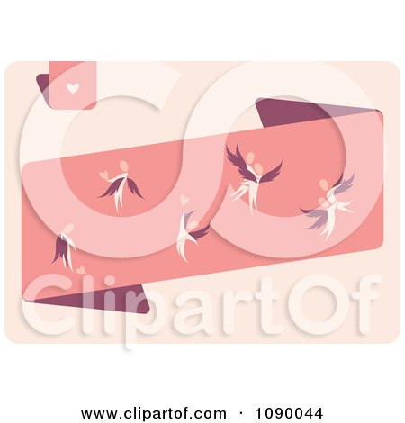Clipart Angels With Hearts On Pink - Royalty Free Vector Illustration by elena