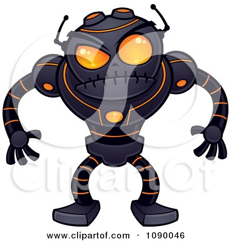 Clipart Angry Black Robot With Orange Eyes Royalty Free Vector Illustration