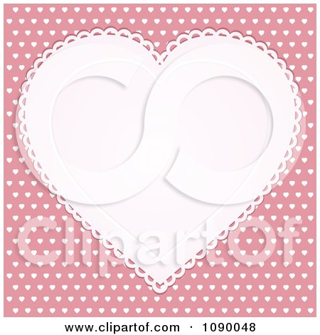 Clipart White Doily Heart Over Pink With White Hearts - Royalty Free Vector Illustration by elaineitalia