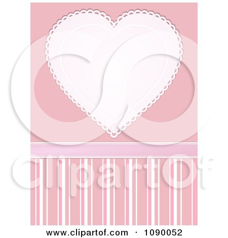 Clipart White And Pink Doily Heart Over Pink And Stripes - Royalty Free Vector Illustration by elaineitalia