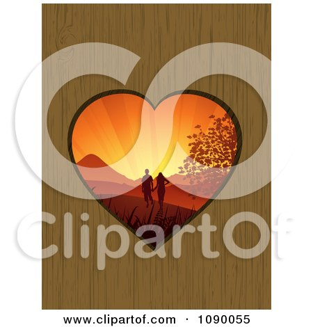Clipart Sunset Couple Outdoors Through A Heart Hole In Wood - Royalty Free Vector Illustration by elaineitalia