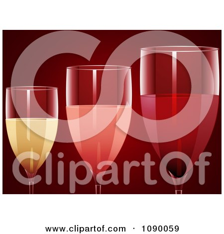Clipart 3d Red Rose And White Wine In Glasses Over Red - Royalty Free Vector Illustration by elaineitalia