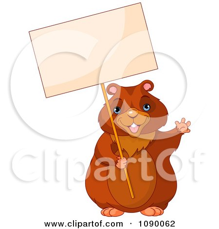 Clipart Waving Groundhog Holding Up A Sign - Royalty Free Vector Illustration by Pushkin
