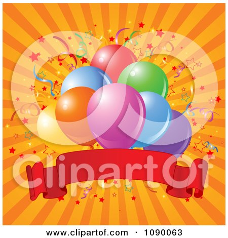 Clipart Confetti And Party Balloons With A Red Banner Over Orange Rays - Royalty Free Vector Illustration by Pushkin