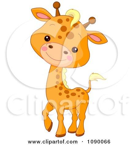 Clipart Cute Baby Giraffe Smiling - Royalty Free Vector Illustration by Pushkin