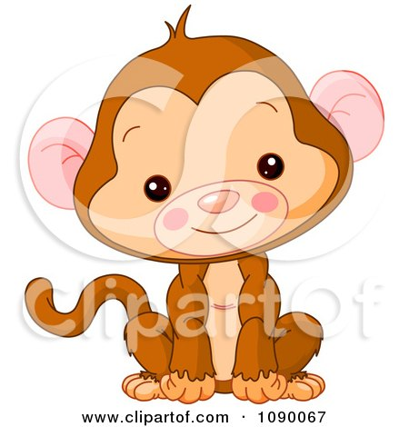 Clipart Cute Baby Monkey Sitting Upright And Smiling - Royalty Free Vector Illustration by Pushkin