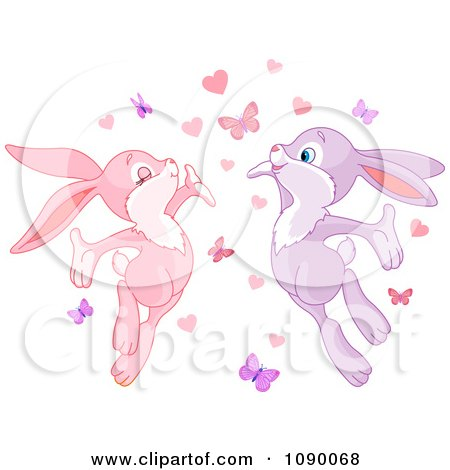 Clipart Bunny Couple With Love Hearts And Butterflies - Royalty Free Vector Illustration by Pushkin