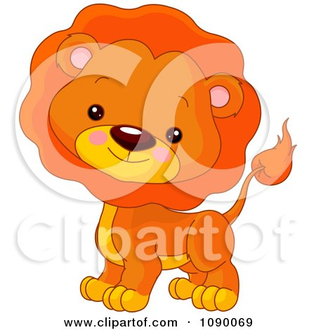 Clipart Cute Lion Cube With A Mane - Royalty Free Vector Illustration by Pushkin
