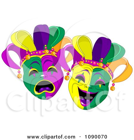 Clipart Happy And Sad Mardi Gras Masks - Royalty Free Vector Illustration by Pushkin