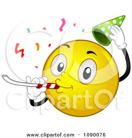 Clipart Smiley Emoticon Celebrating - Royalty Free Vector Illustration by BNP Design Studio