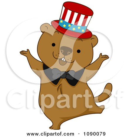 Clipart Dancing Groundhog Wearing An American Top Hat - Royalty Free Vector Illustration by BNP Design Studio