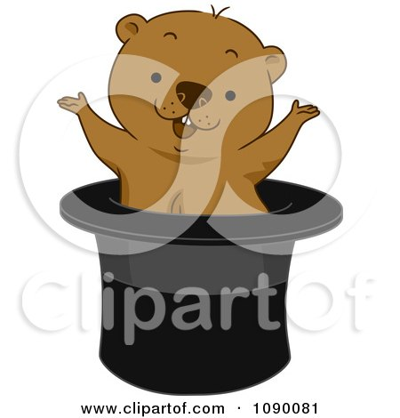 Clipart Groundhog Popping Out Of A Top Hat - Royalty Free Vector Illustration by BNP Design Studio