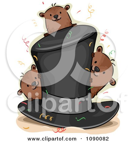 Clipart Top Hat With Confetti And Groundhogs - Royalty Free Vector Illustration by BNP Design Studio