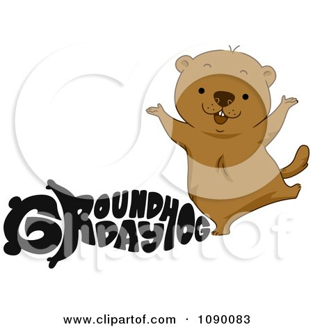 Clipart Black Groundhog Day Text And A Happy Woodchuck - Royalty Free Vector Illustration by BNP Design Studio