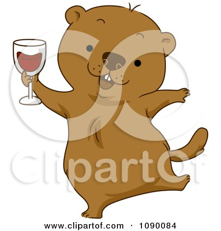 Clipart Happy Groundhog Celebrating With Red Wine - Royalty Free Vector Illustration by BNP Design Studio