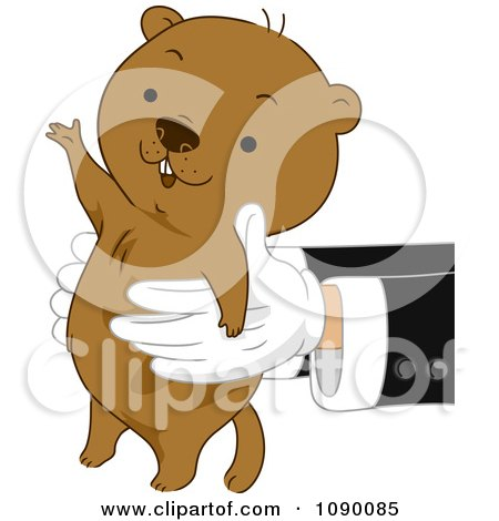 Clipart Pair Of Hands Holding Out A Happy Groundhog - Royalty Free Vector Illustration by BNP Design Studio