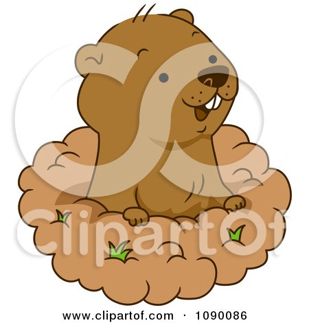 Clipart Happy Groundhog Peeking Out Of His Hole - Royalty Free Vector Illustration by BNP Design Studio