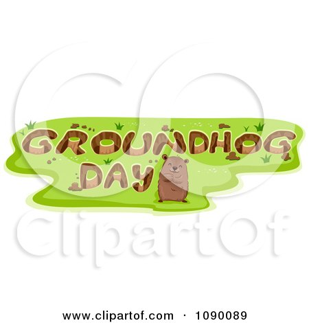 Clipart Woodchuck Standing By Holes Reading GROUNDHOG DAY - Royalty Free Vector Illustration by BNP Design Studio