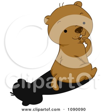 Clipart Cute Groundhog Sitting And Looking Back At His Shadow - Royalty Free Vector Illustration by BNP Design Studio