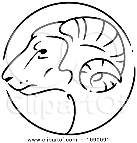 Clipart Black And White Goat Chinese Zodiac Circle - Royalty Free Vector Illustration by BNP Design Studio