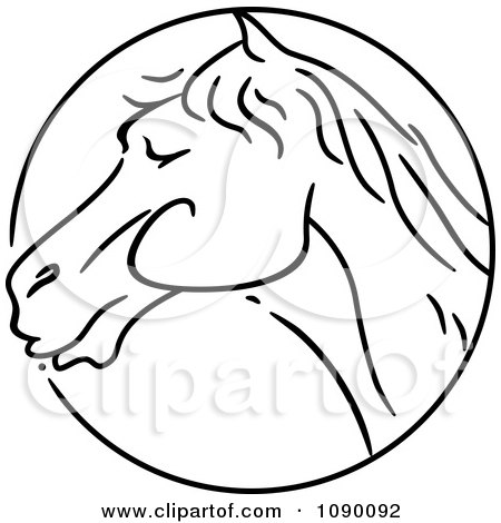 Clipart Black And White Horse Chinese Zodiac Circle - Royalty Free Vector Illustration by BNP Design Studio