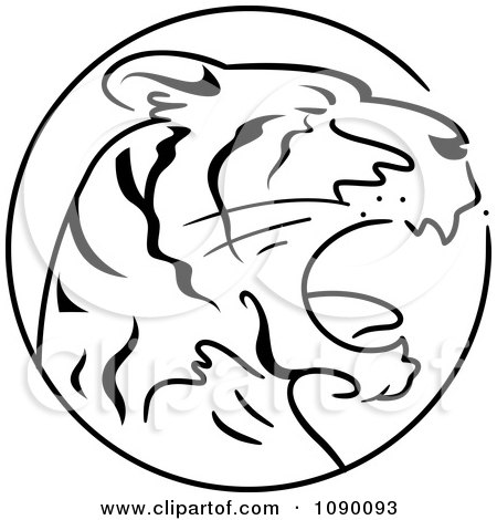 Clipart Black And White Tiger Chinese Zodiac Circle - Royalty Free Vector Illustration by BNP Design Studio