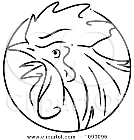 Clipart Black And White Rooster Chinese Zodiac Circle - Royalty Free Vector Illustration by BNP Design Studio
