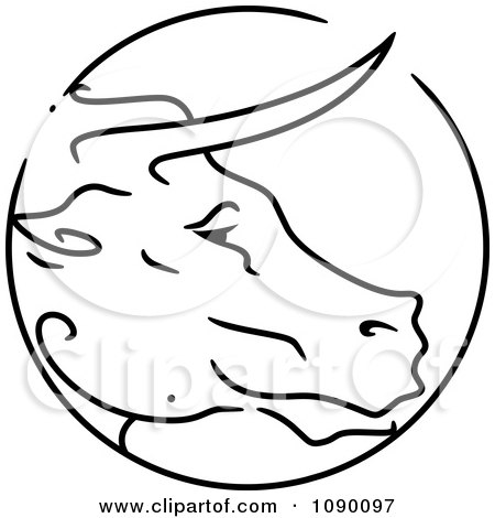 Clipart Black And White Ox Chinese Zodiac Circle - Royalty Free Vector Illustration by BNP Design Studio