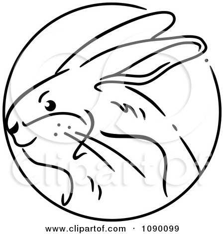 Clipart Black And White Rabbit Chinese Zodiac Circle - Royalty Free Vector Illustration by BNP Design Studio
