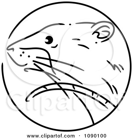 Clipart Black And White Rat Chinese Zodiac Circle - Royalty Free Vector Illustration by BNP Design Studio