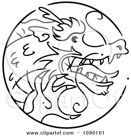 Clipart Black And White Dragon Chinese Zodiac Circle - Royalty Free Vector Illustration by BNP Design Studio