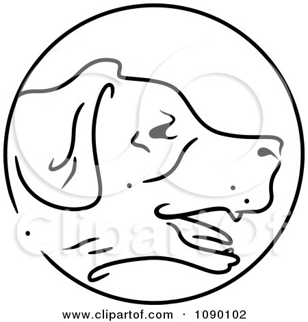 Clipart Black And White Dog Chinese Zodiac Circle - Royalty Free Vector Illustration by BNP Design Studio