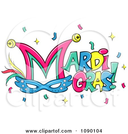 Clipart Mardi Gras Greeting With Confetti Bells And A Mask - Royalty Free Vector Illustration by BNP Design Studio
