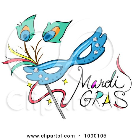 Clipart Mardi Gras Greeting With A Mask - Royalty Free Vector Illustration by BNP Design Studio