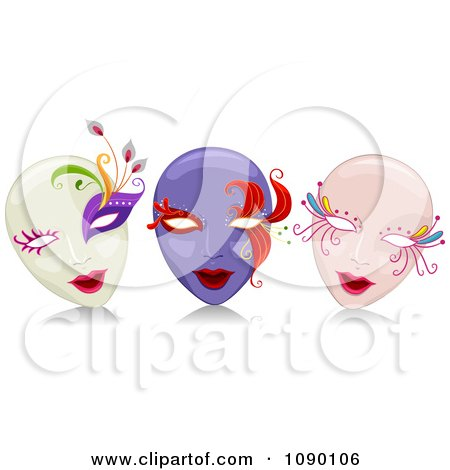 Clipart White Purple And Pink Female Mardi Gras Masks - Royalty Free Vector Illustration by BNP Design Studio
