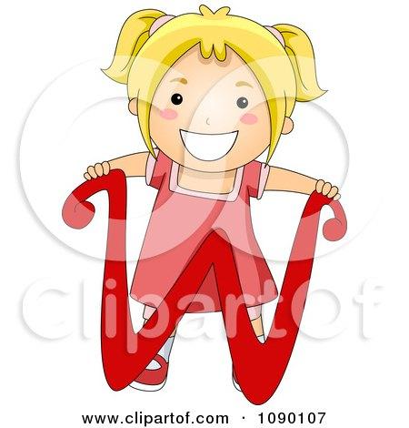 Clipart Letter W Girl Child - Royalty Free Vector Illustration by BNP Design Studio