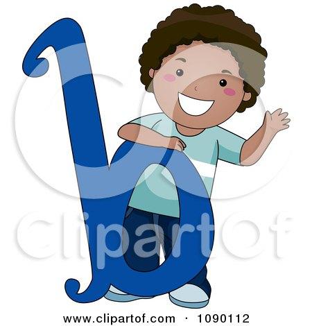 Clipart Letter B Black Boy Child - Royalty Free Vector Illustration by BNP Design Studio
