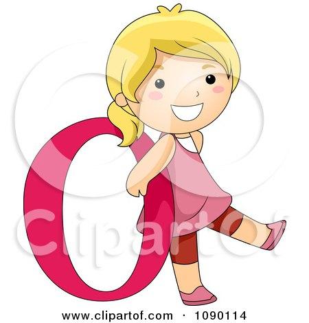 Clipart Letter O Girl Child - Royalty Free Vector Illustration by BNP Design Studio