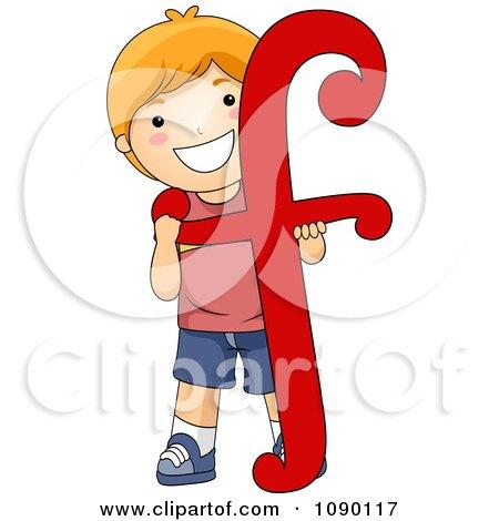 Clipart Letter F Boy Child - Royalty Free Vector Illustration by BNP Design Studio