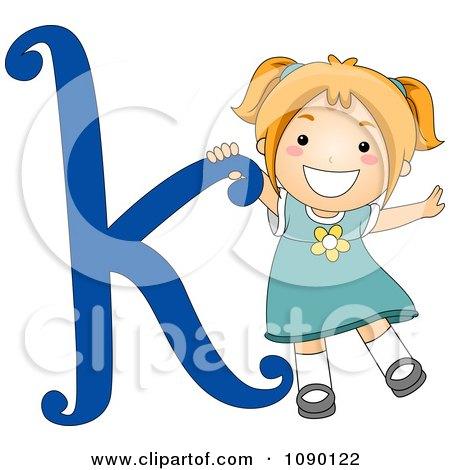 Clipart Letter K Girl Child - Royalty Free Vector Illustration by BNP Design Studio