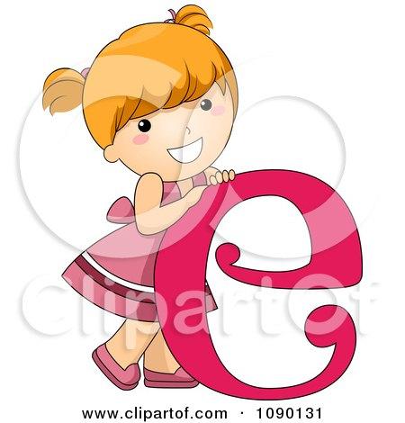 Clipart Letter E Girl Child - Royalty Free Vector Illustration by BNP Design Studio