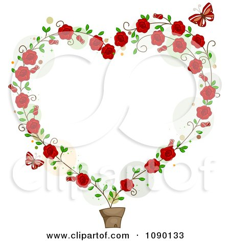 Clipart Potted Rose Vine Forming A Heart Frame With Red Butterflies - Royalty Free Vector Illustration by BNP Design Studio