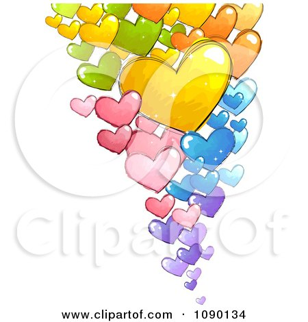 Clipart Colorful Floating Doodled Hearts - Royalty Free Vector Illustration by BNP Design Studio