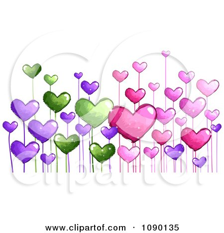 Flower  on Clipart Colorful Doodled Heart Flowers   Royalty Free Vector