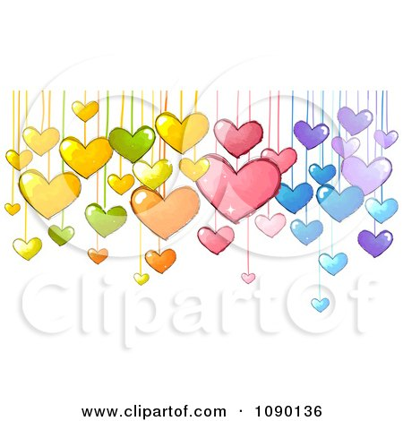 Clipart Colorful Suspended Doodled Hearts - Royalty Free Vector Illustration by BNP Design Studio