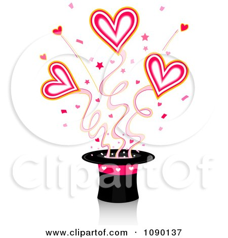 Clipart Magic Top Hat With Shooting Hearts - Royalty Free Vector Illustration by BNP Design Studio