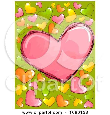 Clipart Background Of Colorful Doodled Hearts On Green - Royalty Free Vector Illustration by BNP Design Studio